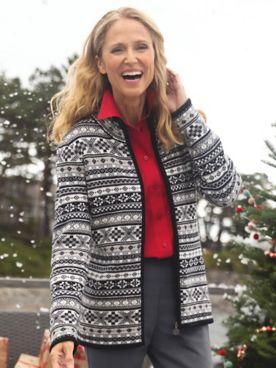 Tales of Norway Fair Isle Zip Cardigan Sweater