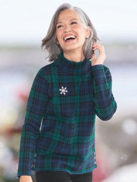 Black Watch Plaid Mockneck Sweater