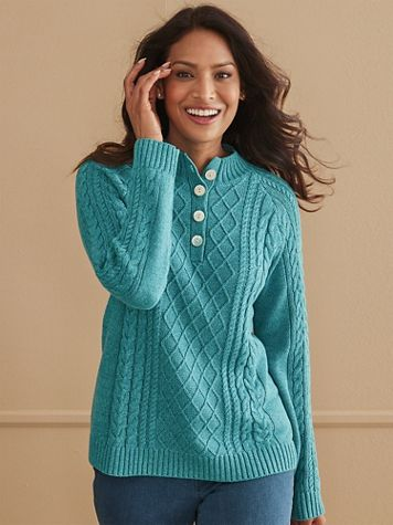Button-Placket Cotton Cable Sweater - Image 1 of 4