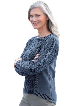 Denim Cable Cotton Sweater