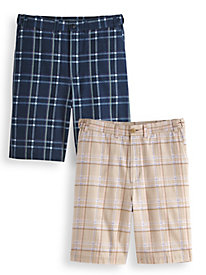 Adjust-A-Band Plaid Shorts