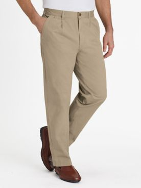 John Blair Relaxed-Fit Back-Elastic Twill and Denim Pants