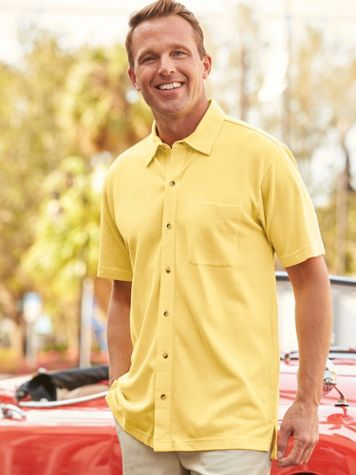 Scandia Woods Button-Front Pique Polo - Image 1 of 6