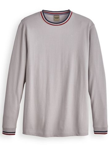 Scandia Woods Striped-Collar Textured Crew - Image 0 of 1