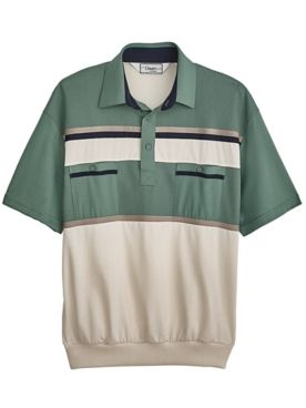 Palmland® Horizontal-Stripe Banded-Bottom Polo