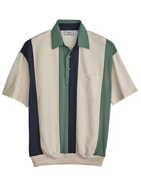 Palmland® Vertical-Stripe Banded-Bottom Polo