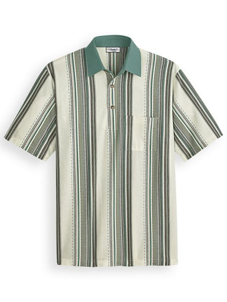 1960s – 70s Mens Shirts- Disco Shirts, Hippie Shirts Palmland® Vertical Striped Polo $34.99 AT vintagedancer.com
