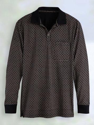Scandia Woods Long-Sleeve Printed Pocket Polo