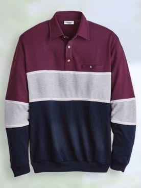 Palmland® Long-Sleeve Chest Stripe Polo