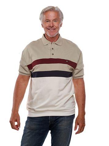 Palmland® Short-Sleeve Banded-Bottom Horizontal-Pieced Polo - Image 1 of 4