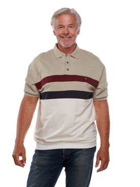 Palmland® Short-Sleeve Banded-Bottom Horizontal-Pieced Polo