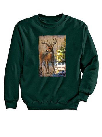 Deer Woodgrain Graphic Sweatshirt - Image 1 of 5