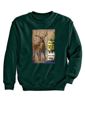 Deer Woodgrain Graphic Sweatshirt
