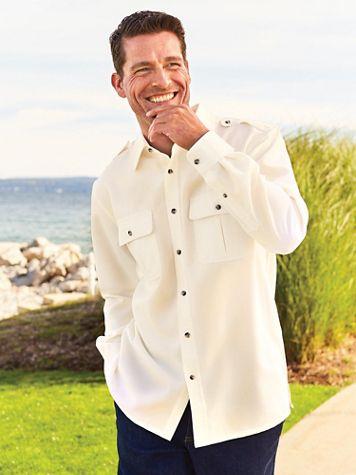 John Blair® Long-Sleeve Linen-Look Pilot Shirt - Image 1 of 6
