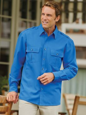 John Blair® Long-Sleeve Linen-Look Pilot Shirt