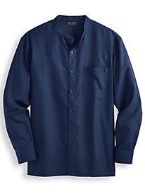John Blair Banded Collar Linen-Look Shirt