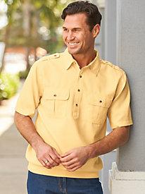 1950s Style Mens Shirts John Blair Linen Look Banded-Bottom Pilot Shirt $24.99 AT vintagedancer.com