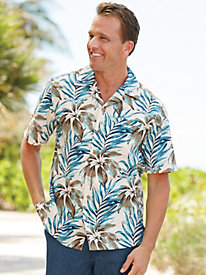 1950s Style Mens Shirts Linen-Look Palm-Print Shirt $37.99 AT vintagedancer.com