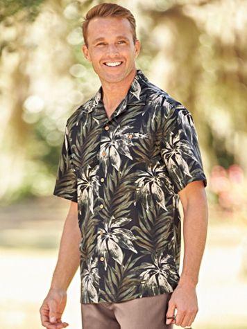 Linen-Look Palm-Print Shirt