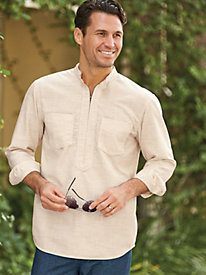 1950s Style Mens Shirts Linen-Look Pullover $29.99 AT vintagedancer.com