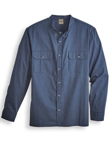 Scandia Woods Banded-Collar Chambray Shirt - Image 1 of 4