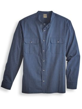 Scandia Woods Banded-Collar Chambray Shirt