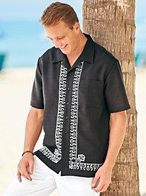 1950s Style Mens Shirts Irvine Park Linen-Look Border-Print Shirt $24.99 AT vintagedancer.com