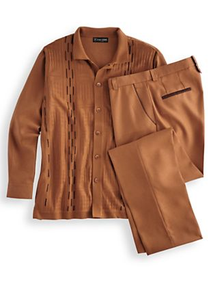 Men's Vintage Style Suits, Classic Suits Stacy Adams® Coordinating Shirt and Pant Set $99.99 AT vintagedancer.com