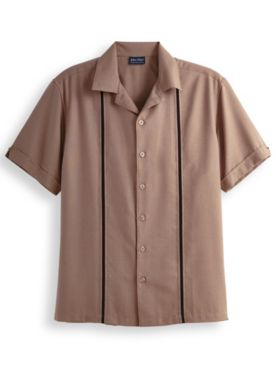 John Blair Linen-Look Vertical Detail Shirt