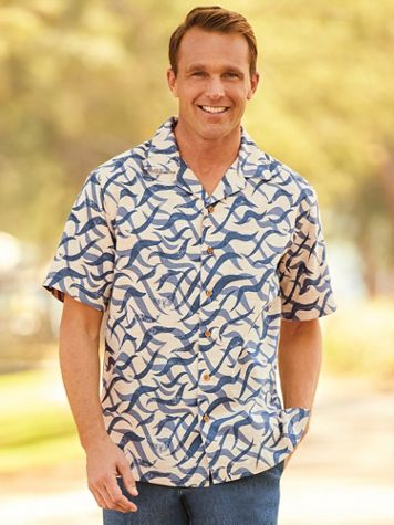 Scandia Woods Wave Linen-Look Shirt - Image 0 of 1