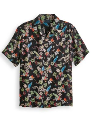 1950s Mens Shirts | Retro Bowling Shirts, Vintage Hawaiian Shirts TropiCool® Print Shirt $13.49 AT vintagedancer.com