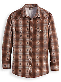 High Noon Snap-Front Flannel Shirt by Blair