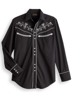 1950s Mens Shirts | Retro Bowling Shirts, Vintage Hawaiian Shirts High Noon Embroidered Western Shirt  AT vintagedancer.com