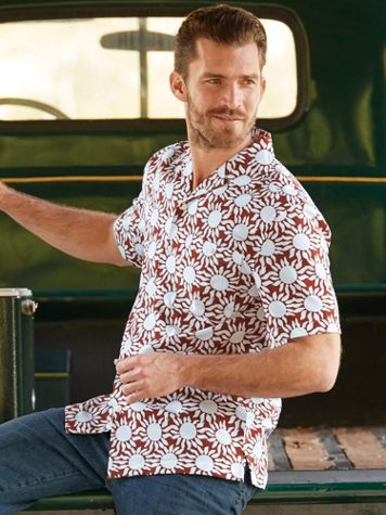 Scandia Woods Linen-Look Sun-Print Shirt - Image 1 of 3