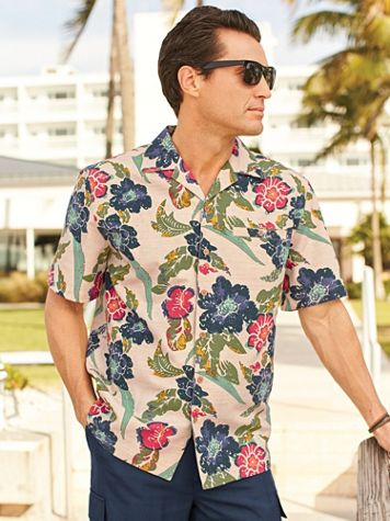 Scandia Woods Linen-Look Multi-Print Shirt - Image 1 of 3