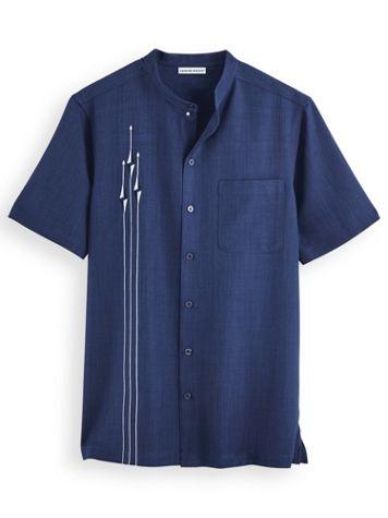 Irvine Park® Embroidered Banded-Collar Mélange Shirt - Image 1 of 1