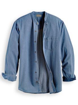 Scandia Woods Banded-Collar Denim Shirt