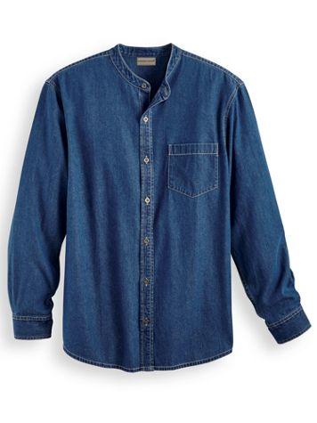 Scandia Woods Banded-Collar Denim Shirt - Image 0 of 1