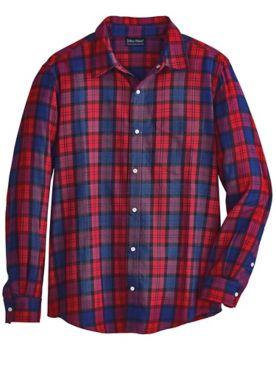 John Blair Snap-Front Cotton Flannel Shirt