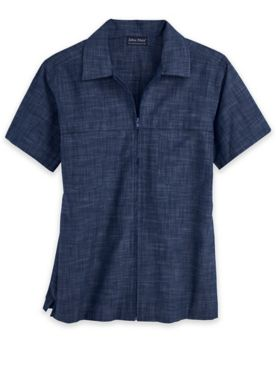 John Blair Zip-Front Chambray Shirt