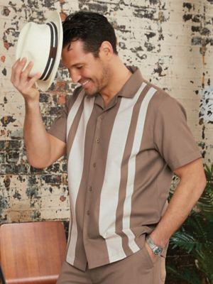 John Blair Linen-Like Colorblock Shirt