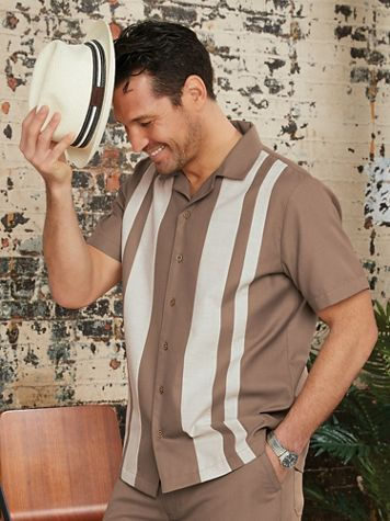 John Blair Linen-Like Colorblock Shirt - Image 1 of 4