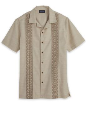 John Blair Linen-Like Embroidered Shirt