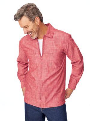 John Blair Zip-Front Chambray Shirt