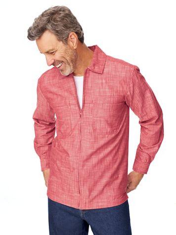 John Blair Zip-Front Chambray Shirt - Image 1 of 5