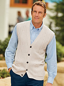 Men's Vintage Style Sweaters – 1920s to 1960s John Blair Cable Knit Sweater Vest $44.99 AT vintagedancer.com