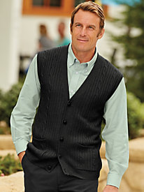 John Blair Cable Knit Sweater Vest by Blair