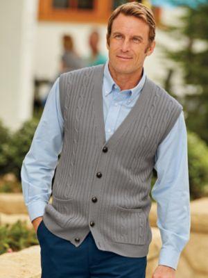 1920s Style Mens Vests John Blair Cable Knit Sweater Vest $34.99 AT vintagedancer.com