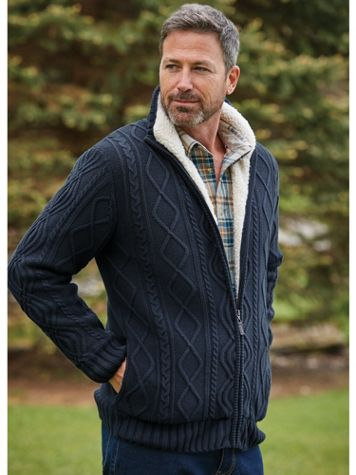 Scandia Woods Full-Zip Fisherman Cable Sweater - Image 1 of 3
