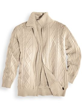 Scandia Woods Full-Zip Fisherman Cable Sweater